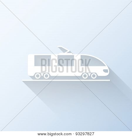 Flat Train Icon With Long Shadow. Vector Illustration