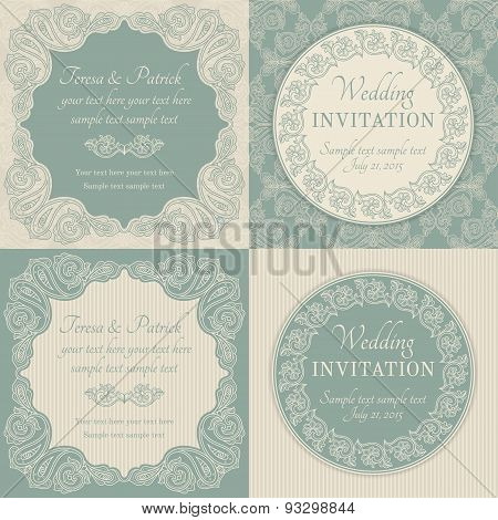 Baroque wedding invitation set, blue and beige