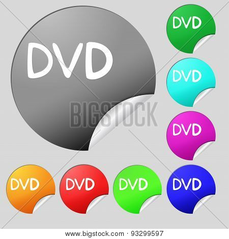 Dvd Icon Sign. Set Of Eight Multi Colored Round Buttons, Stickers. Vector