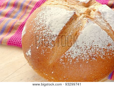Close up of a fresh loaf of white mountain bread