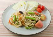 picture of green papaya salad  - Thai Cuisine and Food Thai Traditional Som Tam or Green Papaya Salad Made With Raw Papaya Tomato Yardlong Bean Chili Peanut and Lime - JPG