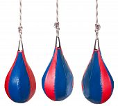picture of punch  - set from pear shaped red and blue leather speed balls  - JPG