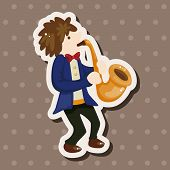 stock photo of saxophone player  - Character Musician Saxophone  Theme Elements - JPG