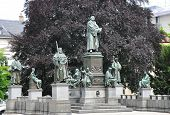 image of worm  - Colorful and crisp image of luther monument in Worms Germany - JPG