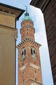 stock photo of vicenza  - clock tower in the main square in the VICENZA an italian city - JPG