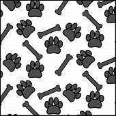 foto of bear tracks  - Seamless pattern foot print dog and bone - JPG