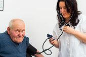 image of cardiology  - Elderly patient at the cardiology  - JPG