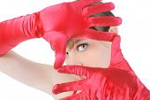 Portrait Of A Beautiful Girl In The Red Gloves.