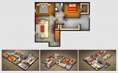 picture of basement  - House rendered plan and three isometric section views of a finished basement with furnished living room - JPG