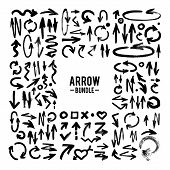 picture of stroking  - Vector brush stroke ARROW collection vector hand - JPG