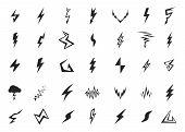 foto of lightning  - Set of isolated vector lightning icons on white background - JPG