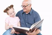stock photo of granddaughter  - Portrait of a grandfather wearing blue checkered shirt looking at his small pretty granddaughter sitting next to him pointing into the big brown book and smiling - JPG