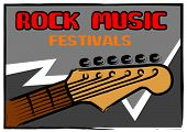 stock photo of stratocaster  - Rock music festivals poster in painting brush style - JPG