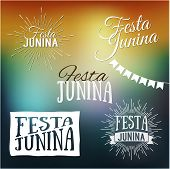 pic of traditional  - Festa Junina set of logos emblems and labels  - JPG