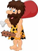 foto of caveman  - Vector illustration of Caveman holding meat isolated on white background - JPG