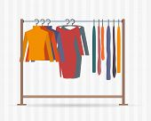 stock photo of clothes hanger  - Clothes racks with dresses on hangers - JPG
