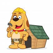 stock photo of working-dogs  - Clipart picture of a dog builder cartoon character with dog house - JPG