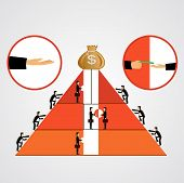 stock photo of elevator  - illustration of pyramid of bribes as some businessmen climbing the pyramid others going up the elevator giving bribes - JPG