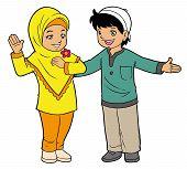 foto of muslim kids  - Two Asian muslim kids hanging out together - JPG
