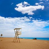 picture of lifeguard  - Almeria Mojacar beach lifeguard in Mediterranean sea of Spain - JPG