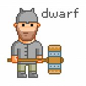 picture of dwarf  - Pixel dwarf for 8 bit video game and design - JPG