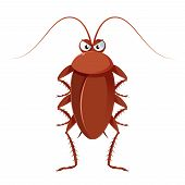 stock photo of cockroach  - Vector image of a brown cartoon cockroach - JPG