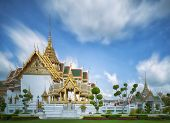 stock photo of emerald  - Golden pavilion in Wat Phra Kaew Temple of the Emerald BuddhaGrand palace in Bangkok Thailand - JPG
