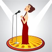 stock photo of singer  - illustration of cartoon female singer with microphone - JPG