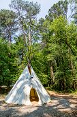 foto of wigwams  - A Native American teepee in a wooded clearing - JPG