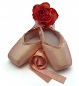 stock photo of ballet shoes  - The ballet shoes with red rose on the white background - JPG