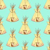 picture of wigwams  - Sketch teepee house in vintage style vector seamless pattern - JPG