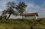 pic of chapels  - Beautiful landscape with green tree and old chapel western Bulgaria - JPG