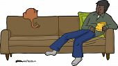 image of chase  - Cartoon of isolated man with cat chasing mouse - JPG