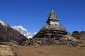 image of sherpa  - Old stupa on the way from Namche Bazar to Kunde scene in he Sagarmatha National Park - JPG