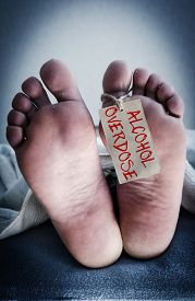 stock photo of overdose  - Death from alcohol overdose - JPG