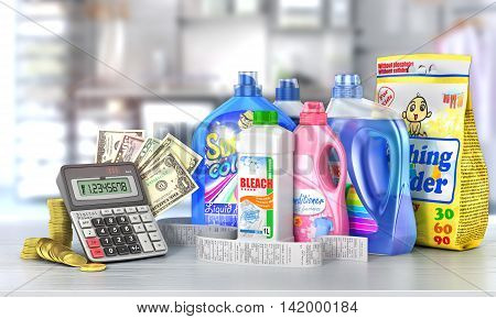 Economy on a detergents. Set of bottles of detergents and washing powders with a long shopping receipt money and calculator on a blurred background. 3d illustration