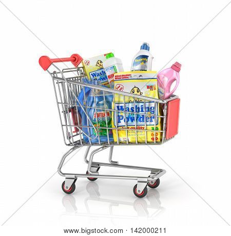 Buying of household goods. Shopping trolley full of bottles of detergent and washing powder. 3d illustration
