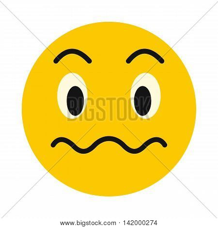 Puzzled emoticon icon in flat style isolated on white background. Facial expressions symbol