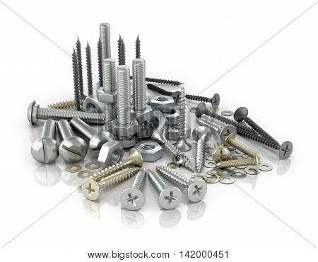 Fasteners bolts nuts and screws and screws on a white background.3D illustration