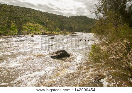 Scenic Bell Rapids landscape with rushing white water and lush flora under an overcast sky in the Swan Valley in Western Australia.