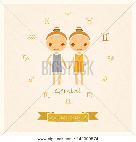 vector illustration of Gemini  zodiac sign with texture of paper