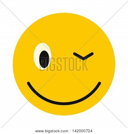 Winking smiley icon in flat style isolated on white background. Facial expressions symbol