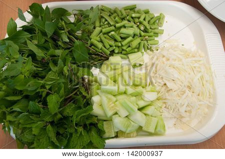 boiled Thai rice vermicelli usually eaten with vegetable