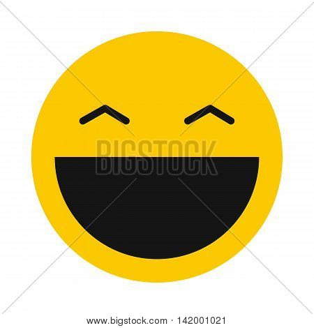 Laughing smiley icon in flat style isolated on white background. Facial expressions symbol