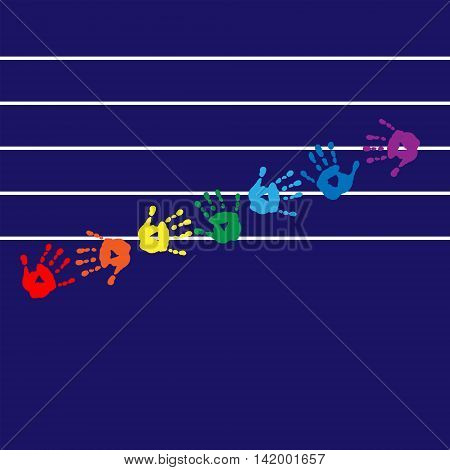 Postcard With Colorful Handprints On A Background Stave