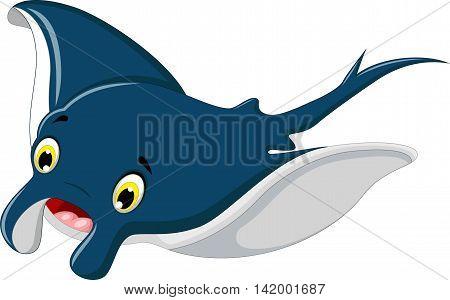 cute stingray cartoon smiling for you design