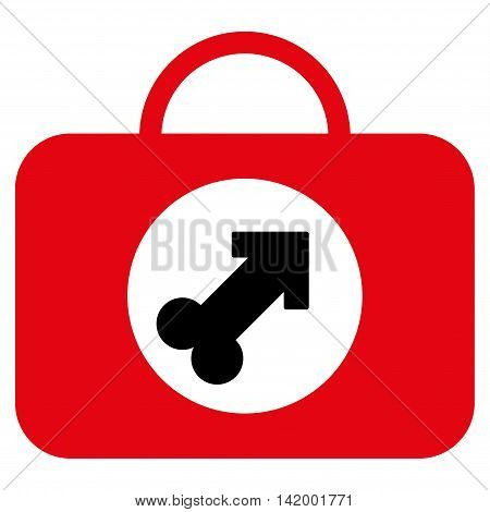 Male Erection Case vector icon. Style is bicolor flat symbol, intensive red and black colors, rounded angles, white background.