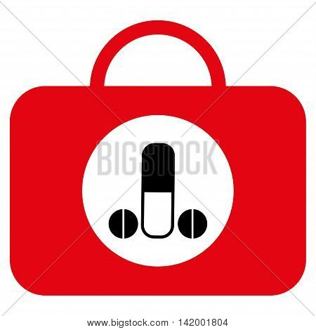 Male Sexual Toolbox vector icon. Style is bicolor flat symbol, intensive red and black colors, rounded angles, white background.