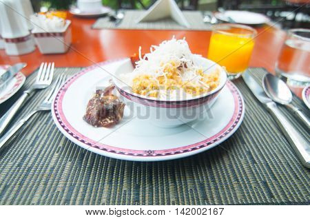 congee and many topping Pork and preserved vegetable