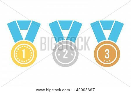 Gold, silver and bronze simple flat design medal icons isolated on white background. First, second and third place. Winner symbol.